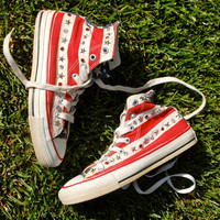 American Flag Studded Converse - Vintage Rare 70s - 80s USA Made Converse All Stars Chucks  - Stars and Bars