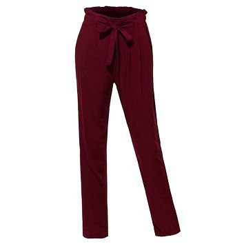 LE3NO Womens High Waisted Slim Straight Leg Pleated Loose Casual Long Pants