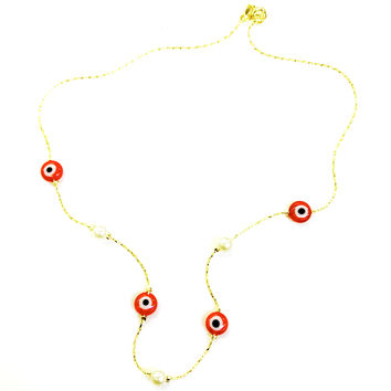 Red Evil Eye and Faux Pearls 18kts Gold Plated Chain Necklace