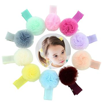Baby Girls Small Tulle Ball Hair Clips Handmade Barrettes Head Accessories