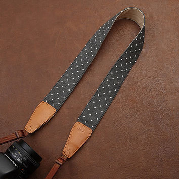 Holidays gift Polka Dot Camera Strap Camera Strap Denim Camera Strap DSLR Camera Strap