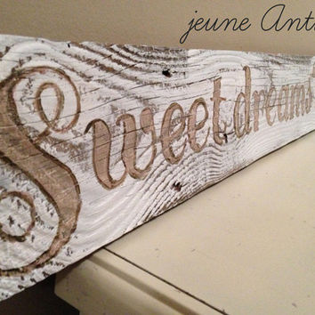Bedroom art Large wooden sign  sweet dreams 'til by jeuneAntique