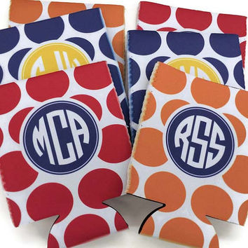 Monogrammed Can Koozie Personalized Bottle Koozie Monogram Wedding Favors