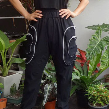 25% OFF New Deisgn - Black - Harem Pants - Cargo Pockets , Unisex Trousers, in Cotton Jersey.
