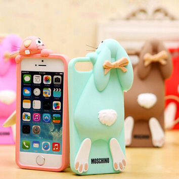 moschino rabbits iphone 6/6pule/5 Silica gel phone case