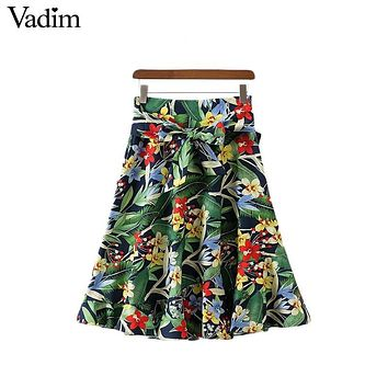 Vadim women sweet ruffles floral skirts pleated green sashes pockets European style casual knee length skirts Femininas BSQ576