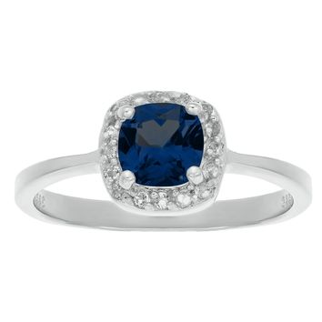 1.20 Ct Cushion Blue Sapphire and White Topaz 925 Sterling Silver Ring