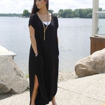 Tshirt Maxi Dress - Black