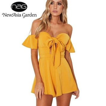 LMFCI7 NewAsia Garden Off Shoulder Flare Sleeve Bow Tie Front Bustier Padded Women Playsuit Casual Strapless Rompers Jumpsuit New 2017