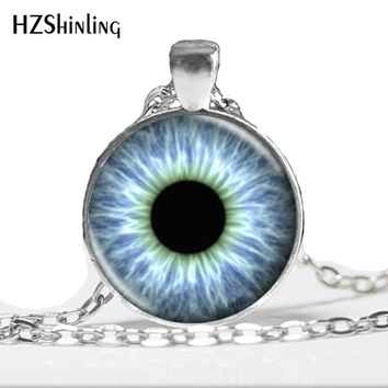 HZ--A195 Blue Black Dragon  Eye Pendant Necklace,Handcrafted Reptile Eye Jewelry,Glass Cabochon Necklace HZ1