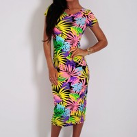 Hoola Multicolour Tropical Print Midi Dress | Pink Boutique