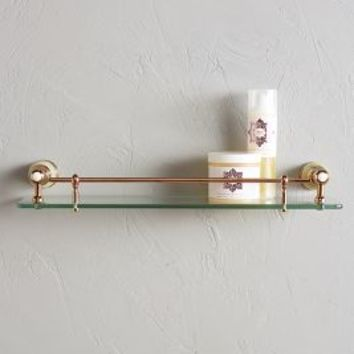 Greengloss Glass Shelf by Anthropologie in Jade Size: Glass Shelf Hardware