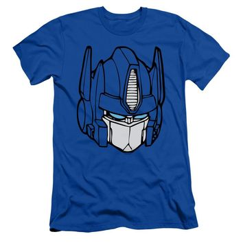 Transformers Slim Fit T-Shirt Optimus Prime Face Royal Tee