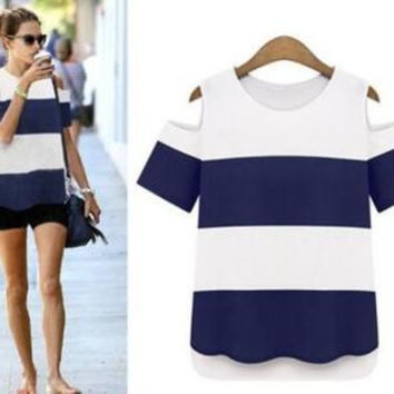 New Fashion Extra Plus Size Stripes Printed Off Shoulder T-Shirt Top