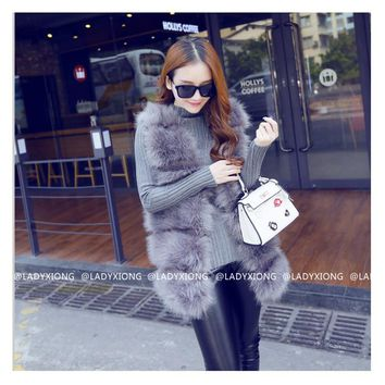 2017 New Autumn Women Brown Plus Size Faux Fur Vest Winter Slim Fit Long Faux fur Coat Women Gilet  Rabbit Fur Vest Coat z30