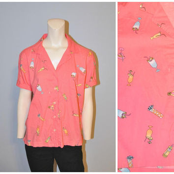 Vintage 1990's Party Shirt Pink Button Down Blouse Cocktail Pattern Short Sleeve Top Alcoholic Beverages Tropical Drink Print Size Medium