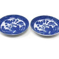 """Set of 2 Blue Willow Plates 3"""" Toy Child's Set / Blue Transferware Flo Blue Ironstone Toy Dishes / Pretend Play Toy Set / Vintage Play Set"""