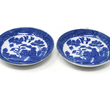 "Set of 2 Blue Willow Plates 3"" Toy Child's Set / Blue Transferware Flo Blue Ironstone Toy Dishes / Pretend Play Toy Set / Vintage Play Set"