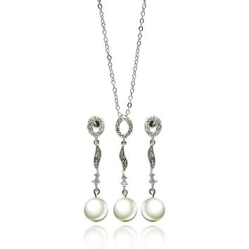 Rhodium Plated Brass Multi Shaped Pearl Drop Clear Cubic Zirconia Hanging Stud Earring & Hanging Necklace Set: SOD