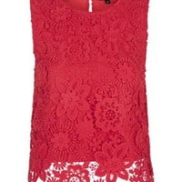3D Lace Crochet Shell Top - Tops - Clothing