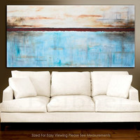 "Painting original 72"" large abstract art 6ft huge white blue modern abstract oil painting by L.Beiboer FREE Shipping"