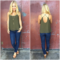 Cross The Line Chiffon Tank - OLIVE