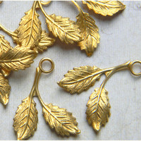 Raw Brass Leaf Leaves Stamping Drop 16mm x 21mm - 6 pcs. (r144)