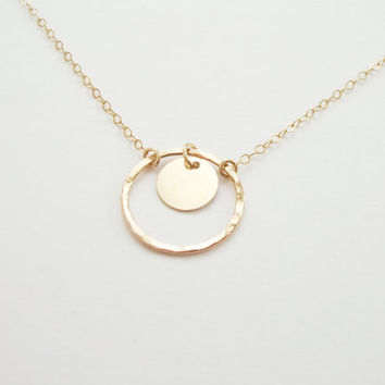 Double circle necklace, gold solitaire necklace, gold pendant necklace, delicate jewelry, eternity necklace, pendant necklace,  two circles