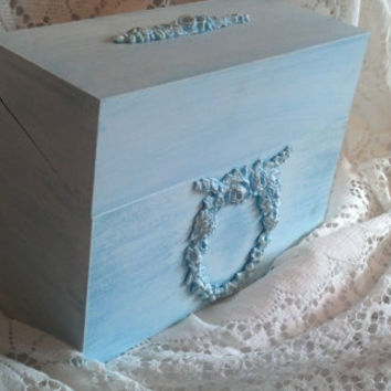 Shabby Chic Farmhouse Cottage Style Box Aqua and Light Blue Shabby Roses Beach Home Decor