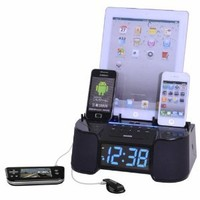 DOK 6 Port Smart Phone Charger with Alarm, Clock and FM Radio (Black)