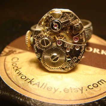 Steampunk Bulova Clockwork Watch Movement Ring with Exposed Gears - Adjustable Floral Band (1542)