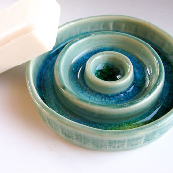 Green Ceramic Soap Dish, Draining Soap Dish, Pottery Soap Dish, Bathroom Accessories
