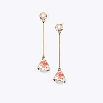 Tory Burch Flower Bud Linear Earring
