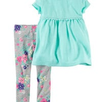 2-Piece Babydoll Top & Floral Legging Set