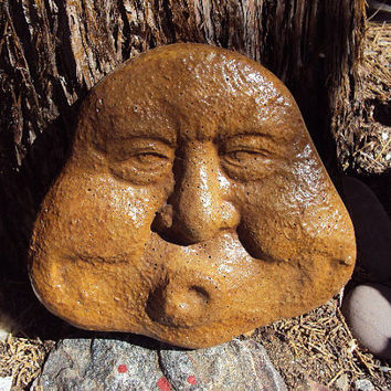 Garden Man Statuary, Garden Decor, Garden Stone, Garden Rock, Awesome Brown Stain