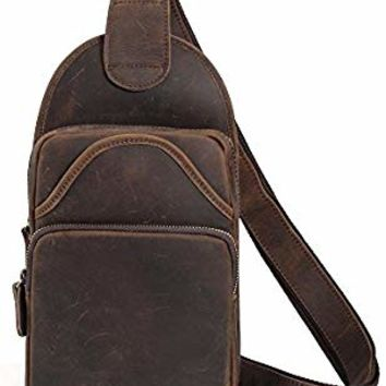 Tiding Vintage Men's Genuine Leather Sling Bag Crossbody Shoulder Chest Pack Unbalance Backpack For Travel School Sport Hiking