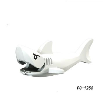 Single Sale PG1256 Great White Shark Pirates of the Caribbean Figure Ghost Zombie Jack Sparrow Building Blocks Gifts Toys