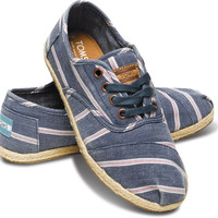 NAVY WASHED STRIPE WOMEN'S CORDONES