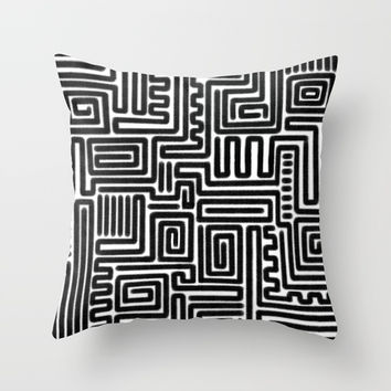 Tribal Maze Pattern (Minimal) Throw Pillow by AEJ Design