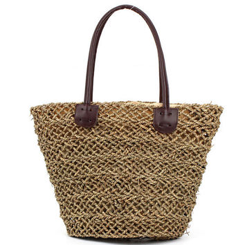 Women Summer Hollow Straw Beach Handbag