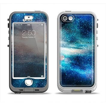 The Blue & Gold Glowing Star-Wave Apple iPhone 5-5s LifeProof Nuud Case Skin Set