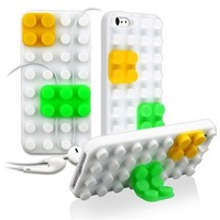 Amazon.com: eForCity Silicone Skin Case compatible with Apple® iPhone® 5, White/ Yellow/ Green Toy Bricks: Cell Phones & Accessories