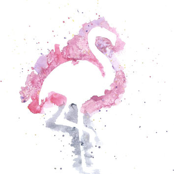 Original Watercolor Flamingo Painting