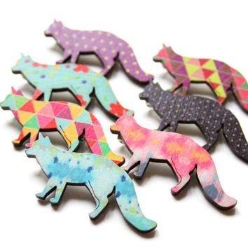Fox Brooch in pink, grey and yellow colors - Woody collection - collaboration with Belinda Marshall