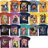 PIT BULL T-SHIRT Rescue Pitbull Face Dean Russo Dog Adopt Art Adult & Child NEW