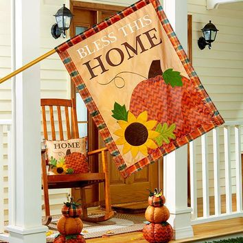 Bless This Home Harvest Collection Flag Pillow or Stacked Pumpkins Fall Decor