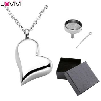 JOVIVI Hot Style Stainless Steel Memorial Ash Keepsake Cremation Jewelry Love Heart Container Urn Memorial Pendant Necklace 24""