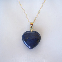 "Indigo Blue natural LAPIS LAZULI 3D HEART gemstone pendant and 16"" yellow gold vermeil chain/necklace, Chakra, Healing stone/jewelry"