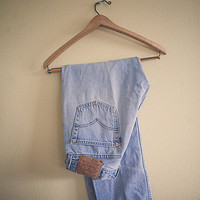 Levi's 501 Vintage Acid Washed Worn in Light Blue Denim Jeans Button Fly Distressed 33 x 30 Boyfriend Jeans 80's