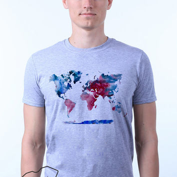 World Map Geography Travel Watercolor Print T-shirt